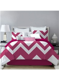 Zigzag Graphics Pattern Red& White Printing 4-Piece Polyester Bedding Sets/Duvet Cover