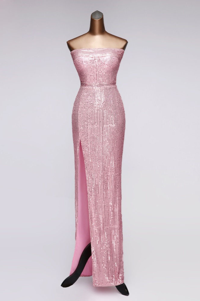 BMbridal Chic Strapless Front Slit Sheath Prom Dresses with Sequins Online