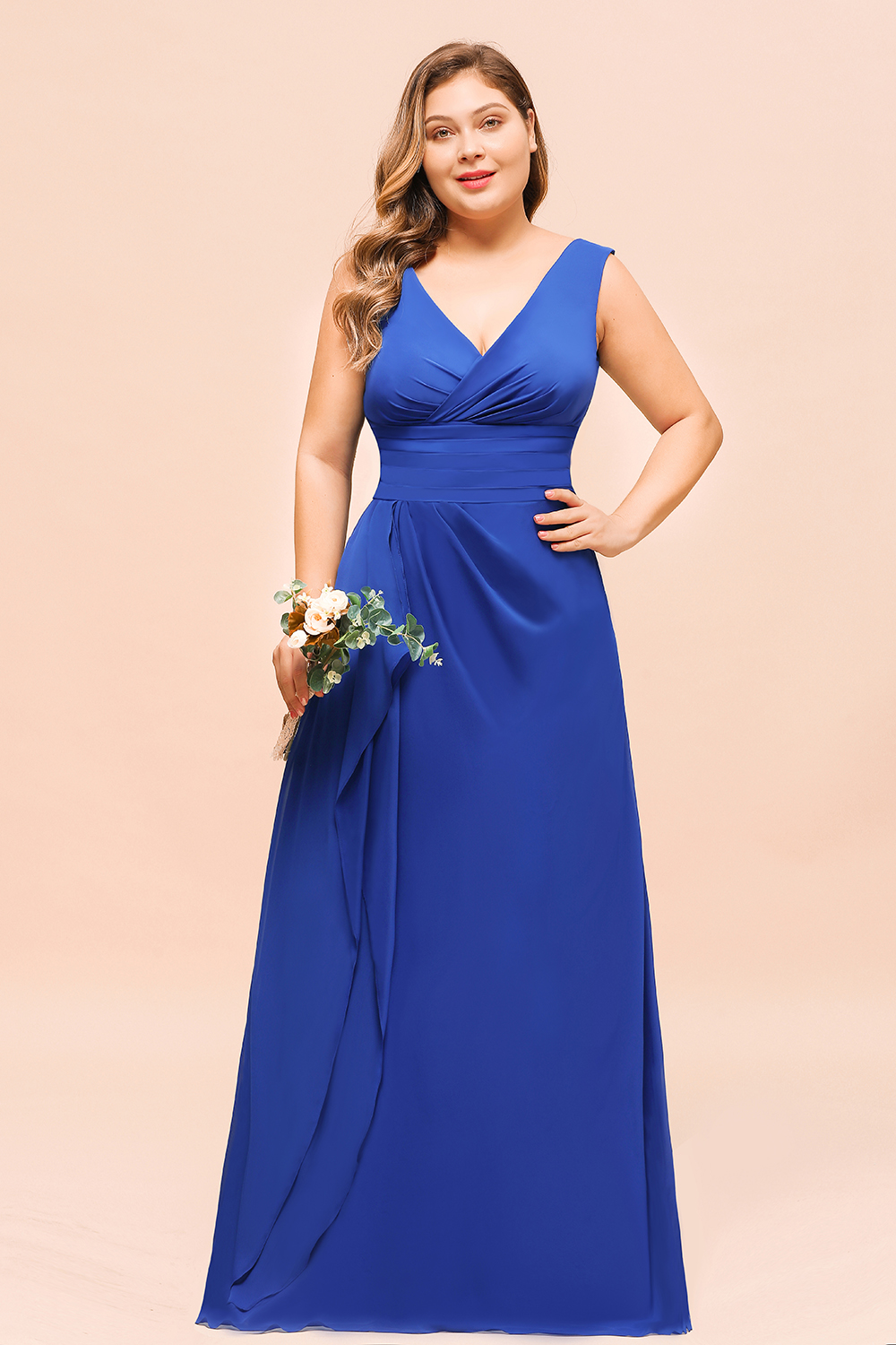 BMbridal Elegant V-Neck Sleeveless Chiffon Plus Size Bridesmaid Dress