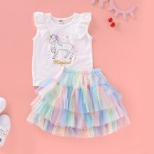 Toddler Girls Cartoon Graphic Tee With Tiered Layer Mesh Skirt