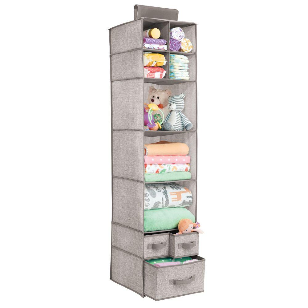 7 Shelf Fabric Kids Hanging Closet Nursery Organizer in Linen, 11.75