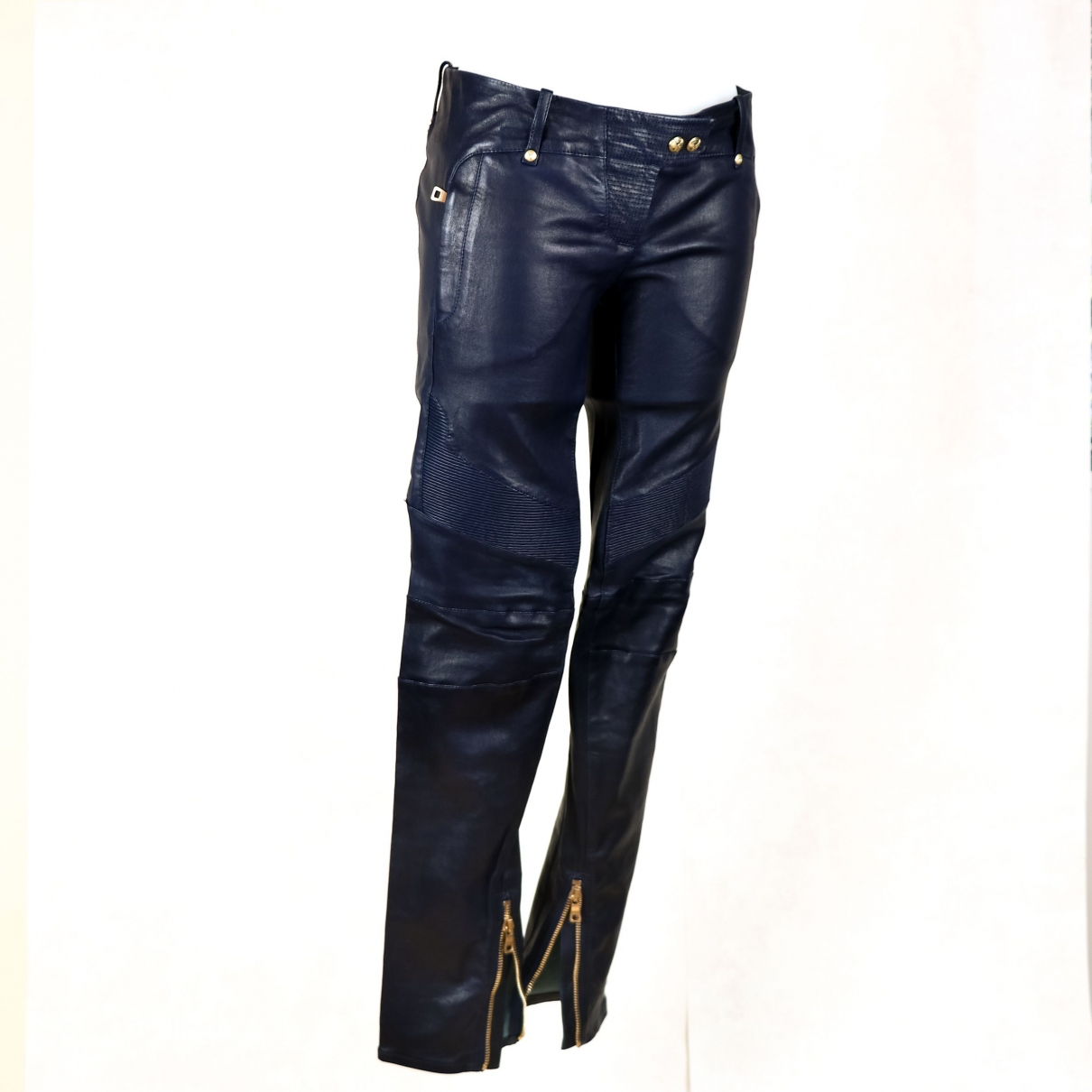Balmain \N Blue Leather Trousers for Women 40 FR