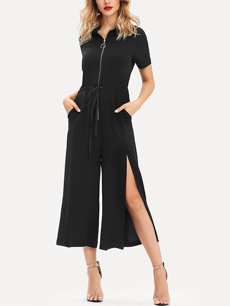 Yoins Black Wide Leg Zip Front Short Sleeves Jumpsuit