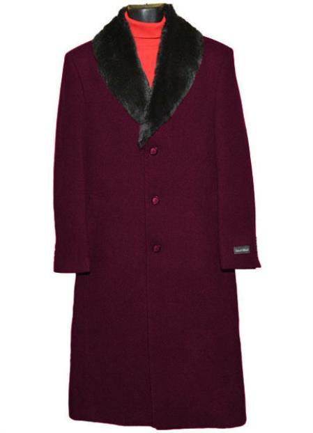 Men's Fur Collar 3 Button Single Breasted Wool Full Length Overcoat