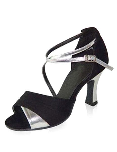Milanoo Zapatos de bailes latinos de puntera abierta Tacon bobina negros cruzados para baile latino