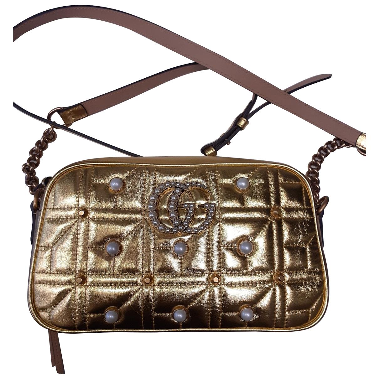 Gucci - Sac a main Marmont pour femme en cuir - dore