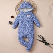 Baby Boy 3D Ear Design Car Print Hooded Jumpsuit