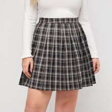 Plus Zipper Side Tartan Pleated Skirt