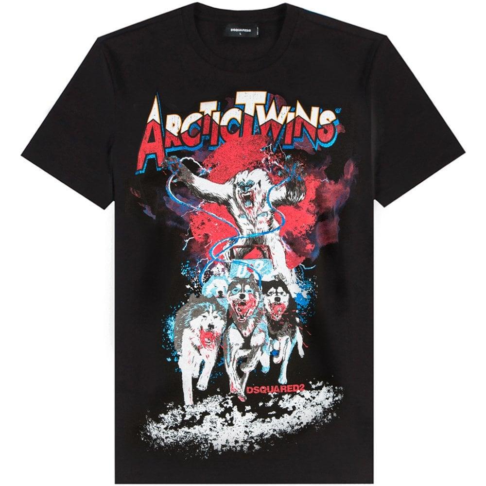 DSquared2 Arctic Twins Graphic Print T-Shirt Colour: BLACK, Size: EXTRA LARGE