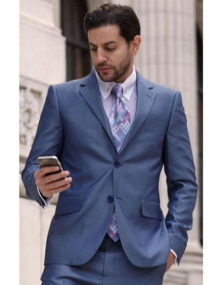 Mens French Blue 2 Button Single Breasted Notch Lapel Fashion Suit