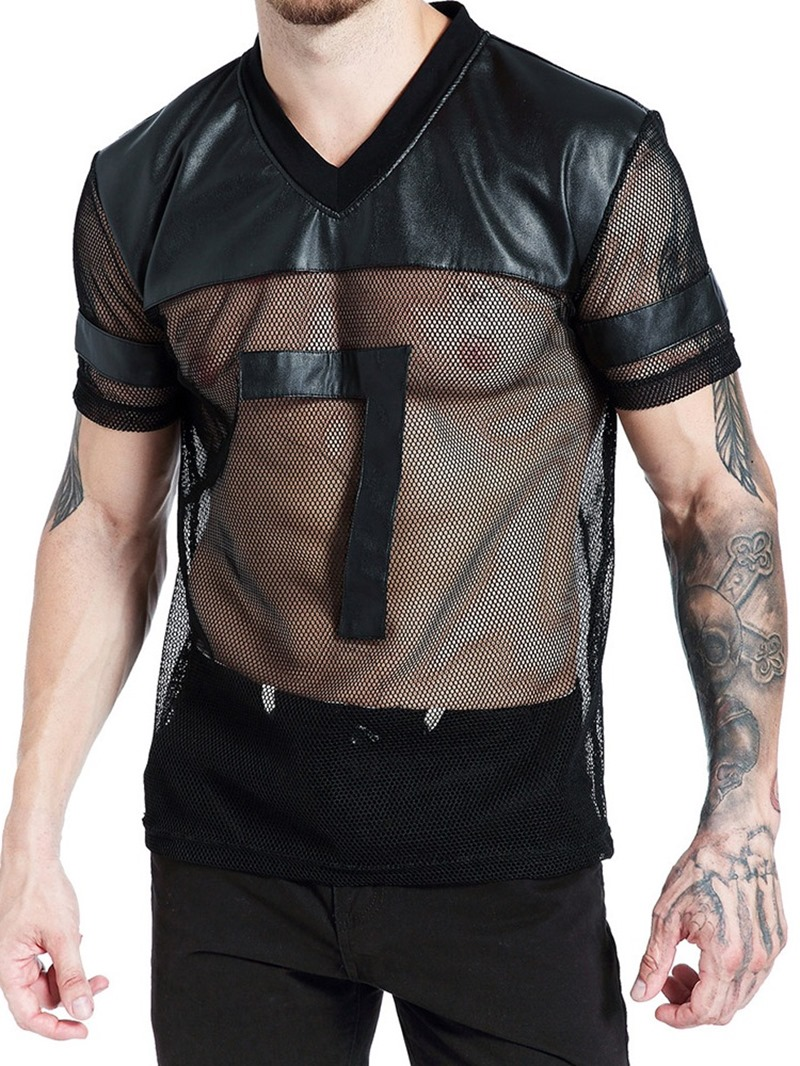 Ericdress Patchwork Plain Men's Casual Slim Shirt