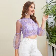 Sheer Mesh Sleeve Guipure Lace Crop Blouse