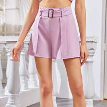 Fold Pleat Detail Buckle Belted Shorts