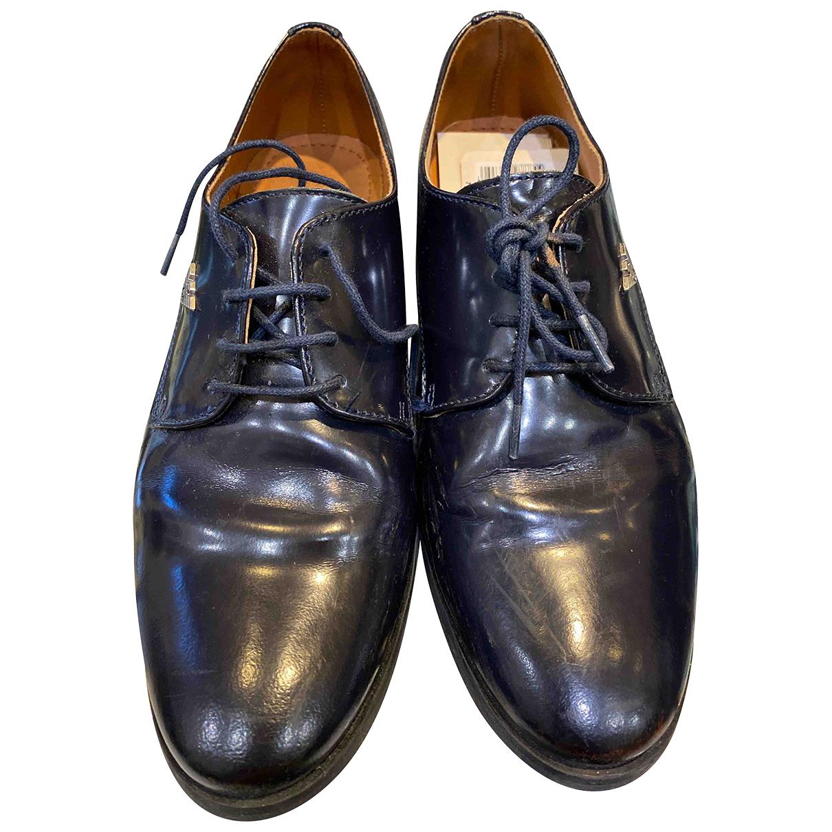 Giorgio Armani N Blue Leather Flats for Kids 35 FR