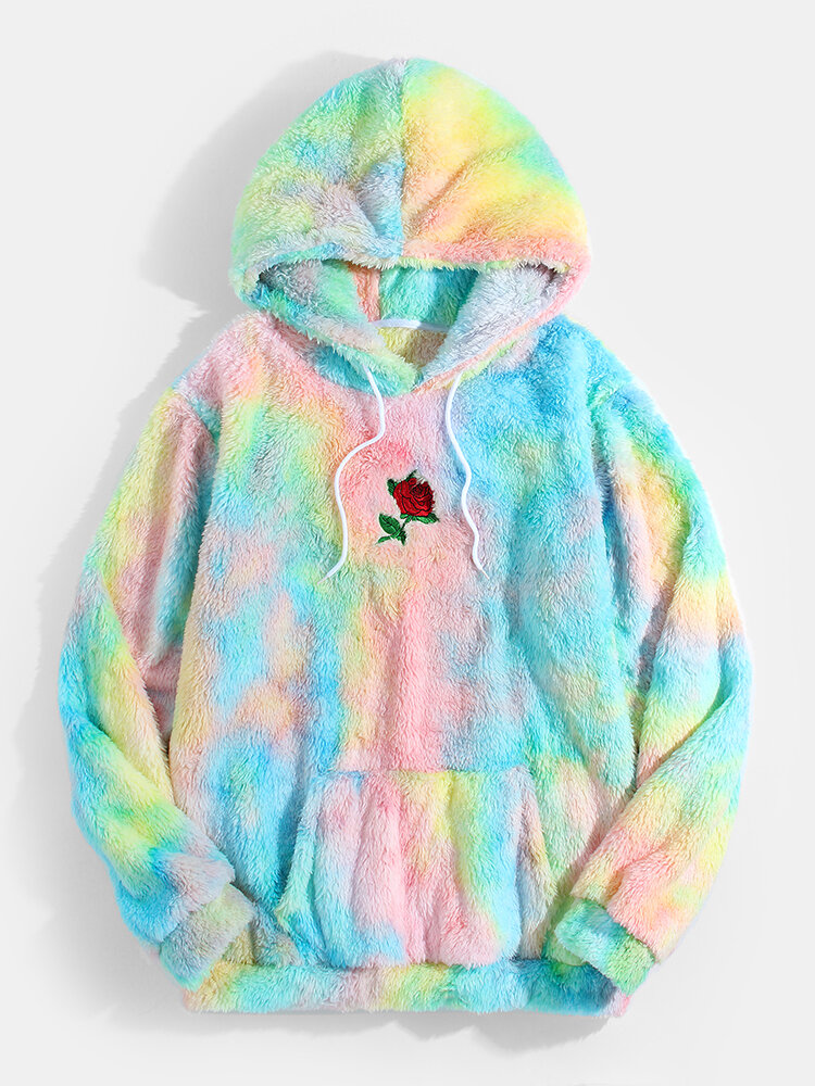 Mens Tie Dye Rose Embroidery Plush Casual Pouch Pocket Drawstring Teddy Hoodies