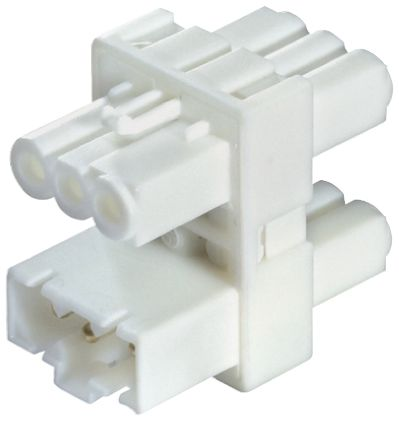 Wieland GST15i3 Series, Male to Female 3 Pole 1  3 Way Distribution Block, PCB Mount, Rated At 16A, 250 V, White (5)