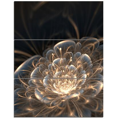 PT6755-3PV Fractal Flower With Golden Rays - Floral Art Canvas Print - 28X36 - 3
