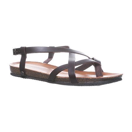Bearpaw Womens Lucia Flat Sandals, 11 Medium, Silver