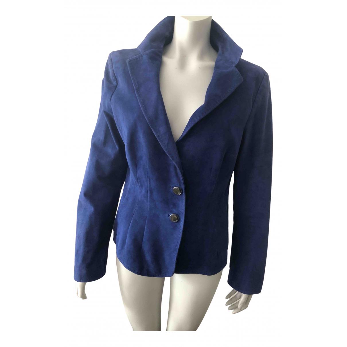 Escada \N Blue Suede Leather jacket for Women 46 IT