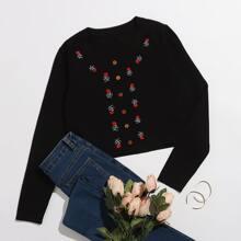 Crop Strickjacke mit Blumen Stickereien