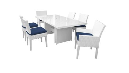 Miami MIAMI-DTREC-KIT-4ADC2DCC-NAVY 7-Piece Patio Dining Set with Dining Table  4 Armless Chairs and 2 Arm Chairs - White and Navy