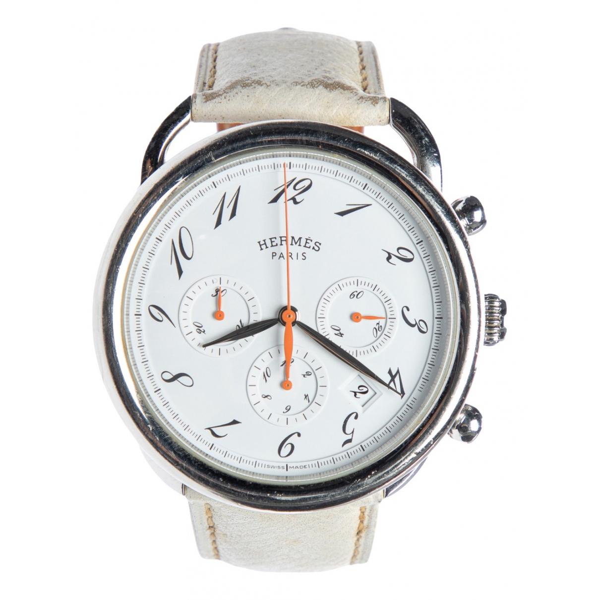 Hermès Arceau Chronographe White Steel watch for Women \N