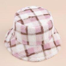 Plaid Fluffy Bucket Hat