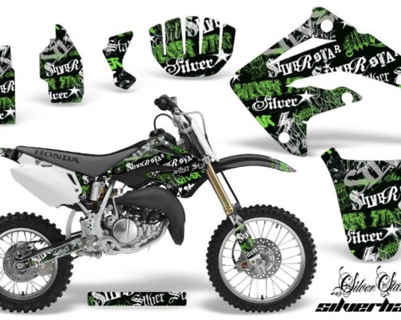 AMR Racing Dirt Bike Graphics Kit MX Decal Wrap For Honda CR85 CR 85 2003-2007 SSSH GREEN BLACK