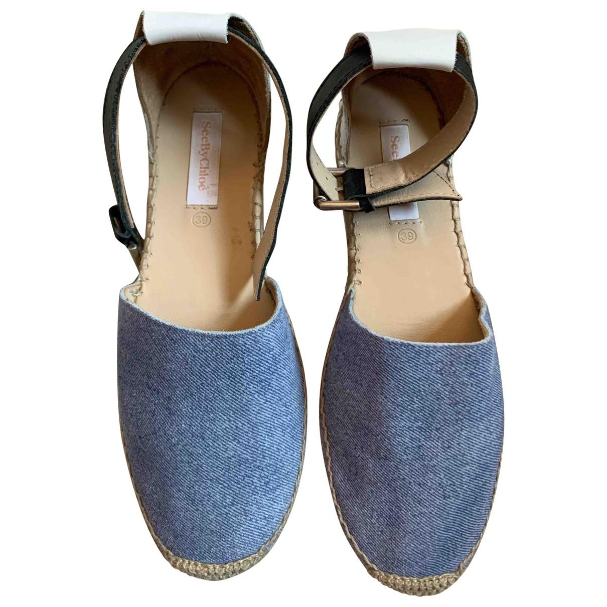 See By Chloe - Espadrilles   pour femme en cuir - bleu