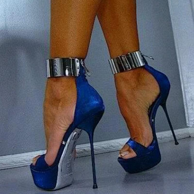 Ericdress Sexy Metal Ankle Wrap Stiletto Sandals