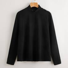 Funnel Neck Button Side Tee