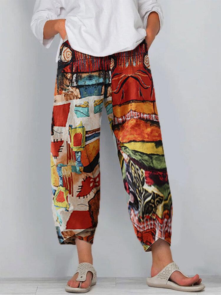 Vintage Printed Split Elastic Waist Pants For Women