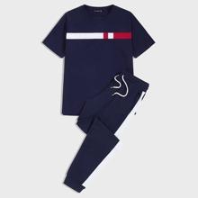 Maenner T-Shirt mit Farbblock & Jogginghose Set mit Streifen und Kordelzug