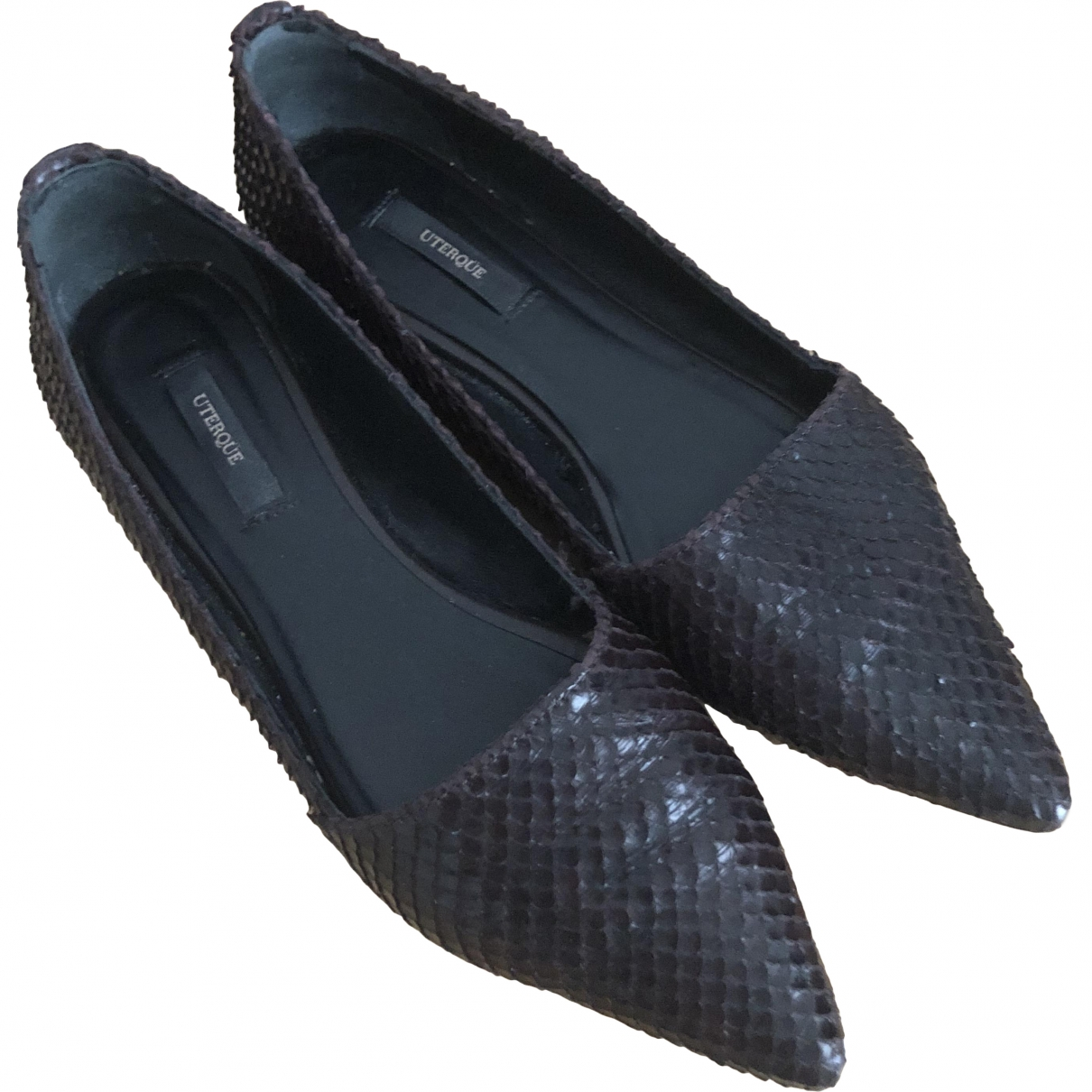 Uterque \N Brown Leather Flats for Women 36 EU