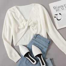Twist Front Rib-knit Sweater
