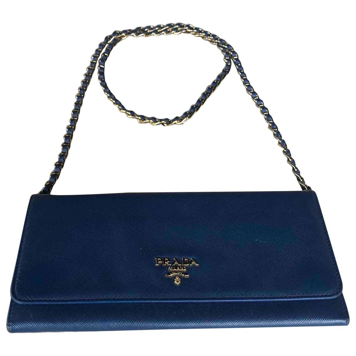 Prada \N Blue Leather Clutch bag for Women \N