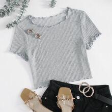 Strick T-Shirt mit gekraeuseltem Saum
