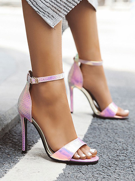 Milanoo Women Heel Sandals Yellow Stiletto Heel Round Toe PU Leather Pink Sandals