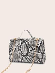 Snakeskin Print Push Lock Satchel Bag
