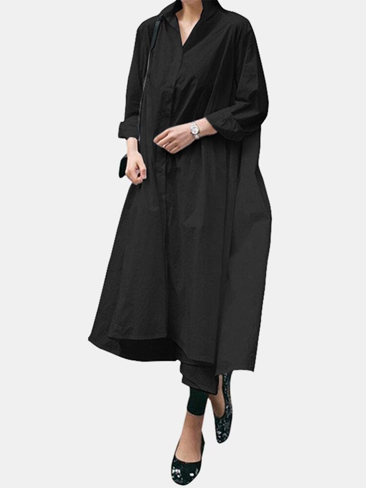Casual Solid Color Asymmetrical Turn Down Collar Maxi Shirt Dress