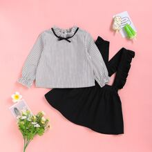 Toddler Girls Striped Frill Blouse With Ruffle Pinafore Skirt