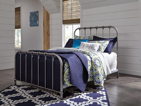 Nashburg Collection B280-571 Twin Size Bed with Open-Frame Panel Design and Steel Metal Construction in Aged Pewter-Tone