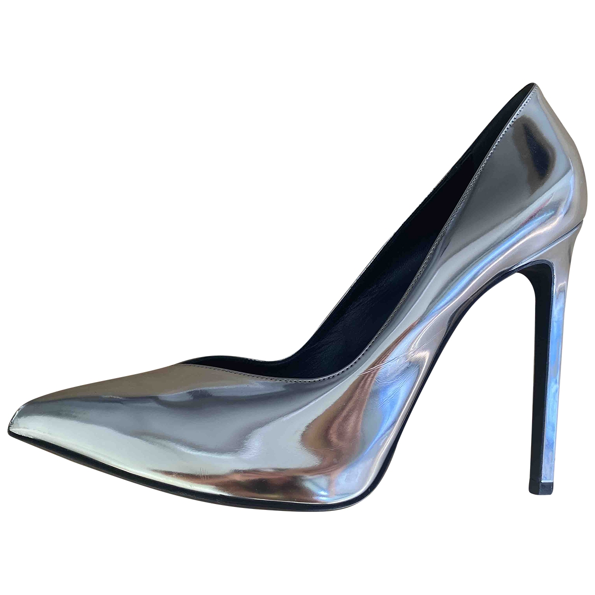 Saint Laurent \N Silver Leather Heels for Women 38 EU