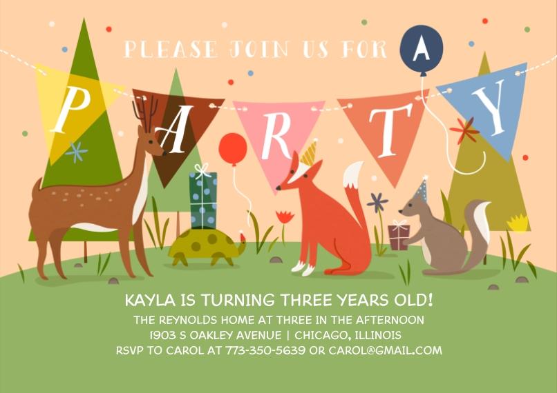 Kids Birthday Party Invites 5x7 Cards, Premium Cardstock 120lb, Card & Stationery -Party Animal - Invitation