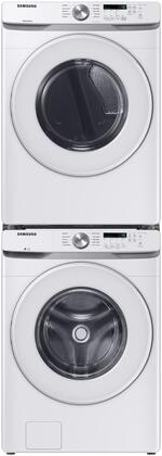 White Stacked Front Load Laundry Pair with WF45T6000AW 27 Washer  DVG45T6000W 27 Gas Dryer and SKK8K Stacking