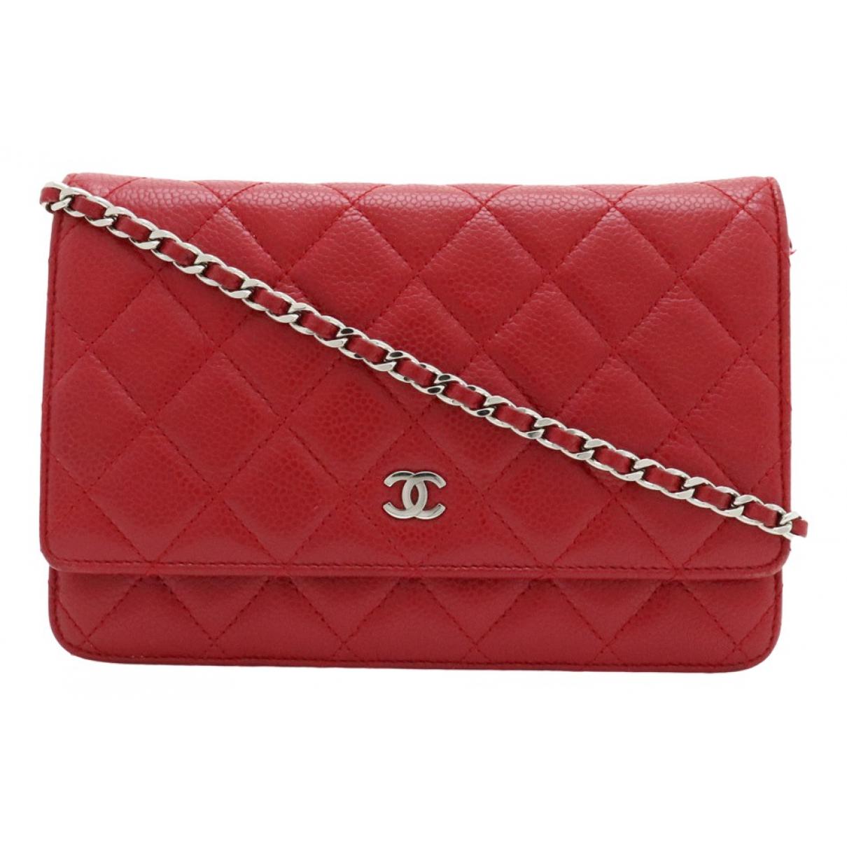Chanel - Pochette Wallet on Chain pour femme en cuir - rouge