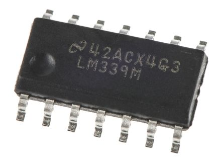 Texas Instruments LM339M/NOPB , Quad Comparator, Open Collector O/P, 1.3μs 3 → 28 V 14-Pin SOIC