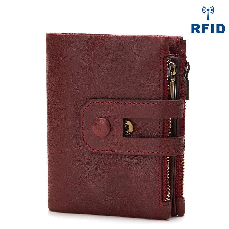 Genuine Leather Vintage Multi-slots Card Holder Small Short Wallet Purse