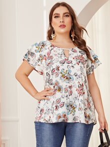 Plus Keyhole Neck Butterfly Sleeve Floral Top