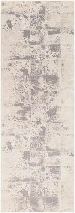 Tibetan TBT-2312 27 x 10 Runner Modern Rugs in Khaki  Cream  Medium Gray  Taupe